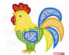 Rooster 02 Digital Applique by CherryStitchDesign on Etsy Applique Templates, Applique Embroidery Designs, Machine Embroidery Applique, Applique Patterns, Applique Quilts, Embroidery Stitches, Quilt Patterns, Embroidery Machines, Sewing Appliques