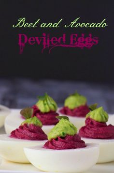Beet and Avocado Deviled Eggs