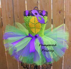 Purple turtle tutu dress - TMNT inspired ninja turtle tutu girl turtle costume - Halloween ideas size newborn to 10 years - costume by PamperedPaisley on Etsy https://www.etsy.com/listing/201035147/purple-turtle-tutu-dress-tmnt-inspired