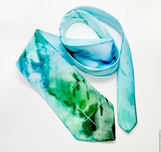 Купить галстук космический бирюзово зелёный шёлковый подарок мужчине, - галстук шелковый, подарок юноше