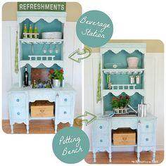 Hutch And Desk Transformed To A Beverage Station/potting Bench