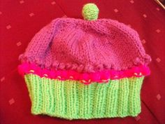 Hand knitted cupcake hat Any colours, birth to 2years