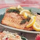 Broiled salmon with lemon butter. This was sooooo good even Phill ate it...and he hates fish! I served it with linguine and added spinach and shrimp. Totes deelish!