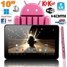 Tablette tactile 10 pouces 8 Go, fine et légère, fonctionnant sous Android 4.4 KitKat, disposant d'un rendu FULL HD 1080p et supportant les vidéos 3D (sortie). Elle a également de multiples connectiques: HDMI, USB, WIFI. Camera 1.3MP, écran tactile capacitif multitouch, Processeur Quad Core 1.3 GHz, RAM 1 Go, mémoire interne : 8 Go
