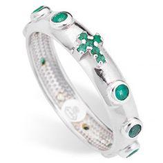 Zehner-Ring AMEN rodinierten Silber 925 grünen Zirkonen | Online Verfauf auf…
