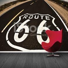 Fotobehang Route 66 | Maak het jezelf eenvoudig en bestel fotobehang voorzien van een lijmlaag bij YouPri om zo gemakkelijk jouw woonruimte een nieuwe stijl te geven. Voor het behangen heb je alleen water nodig!   #behang #fotobehang #print #opdruk #afbeelding #diy #behangen #amerika #usa #route66 #verenigdestaten #weg
