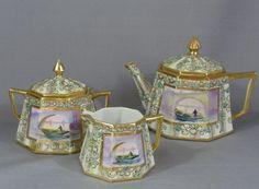 Nippon Old Noritake Tea Set Tea Pot Sugar and Creamer | eBay