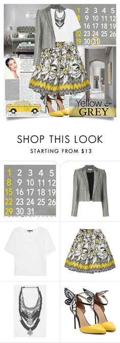 """Yellow and Grey"" by adrijana ❤ liked on Polyvore featuring IRO, rag & bone, Alice + Olivia and Kate Spade"