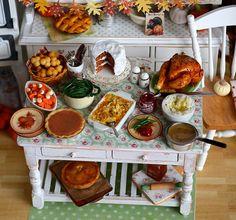 Miniature Thanksgiving Prep Table~Shabby Vintage Style