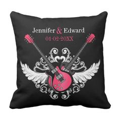 #bride - #Rock and Roll Wedding Love Guitars Black Pink Throw Pillow