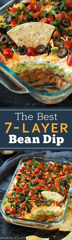 My favorite recipe for 7-Layer Bean Dip! Packed with flavor and always a crowd pleaser. Perfect game day food or party snack.