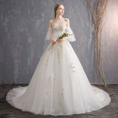 Affordable Ivory Wedding Dresses 2018 Ball Gown Lace Flower Pearl Sequins Sweetheart Backless Short Sleeve Cathedral Train Wedding Short Girl Wedding Dress, Western Wedding Dresses, Cute Wedding Dress, Affordable Wedding Dresses, Wedding Dresses For Girls, Wedding Dresses Photos, Ivory Wedding, Bridal Dresses, Wedding Gowns