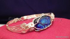 Dichoric Glass In Silver Filled Wire Bracelet