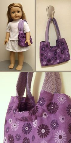 The American Girl doll who lives in our house seems to be acquiring more new clothes and accessories than I am these days. Now she can carry all of her daily essentials in this snazzy little tote bag. Purple floral fabric isn't my personal style, so it was fun to use a bit of it … Read More ...
