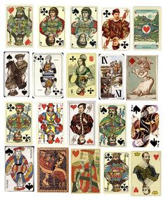 Antique Playing Cards Printable 1 by PaperScraps, via Flickr