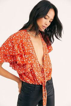 Call Me Later Printed Bodysuit - Free People Bodysuits - Floral Bodysuit - Ruffle Bodysuit - Front Tie Bodysuit Free Clothes, Clothes For Women, Boho Fashion, Autumn Fashion, Bodysuit Fashion, Fashion Over 40, Fall Looks, Blouse Styles, Boho Tops
