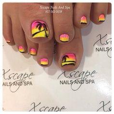 yellow pink sunset palm tree