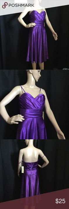 "Formal Purple Dress By Cinderella Design Size M Cinderella Design Size M Purple Dress   with my tape measure:  Bust (underarm flat across) - 16.5""  Waist (flat across) - 14""  Hem (flat across spread out ) - 33""  Center Front length - 34""  Center back length - 31""  Shoulder to hem - 37"" ( cup part)   Bridal Prom   #558 Cinderella Design Dresses Prom"