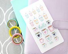 Pastel coffee drinks stickers - cute planner sticker sampler sheet /kawaii scrapbook sticker, for erin condren, filofax, journals by HelloPetitePaper on Etsy https://www.etsy.com/listing/240188722/pastel-coffee-drinks-stickers-cute
