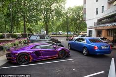 Millionaire's playground: A host of cars with Arabic numberplates, including the Lamborghini, are pictured outside the Dorchester Hotel on Park Lane
