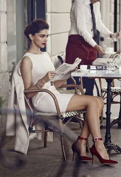 Deepika Padukone, white sheath dress and red shoes high heels