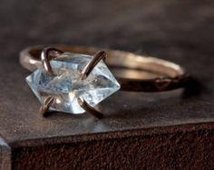Herkimer Diamond Crystal RIng in Rose Gold