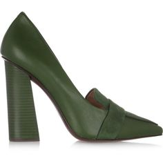 Tory Burch Smith leather and suede pumps (17400 RSD) ❤ liked on Polyvore featuring shoes, pumps, leaf green, pointed toe pumps, suede shoes, leather slip-on shoes, green pumps and green suede shoes