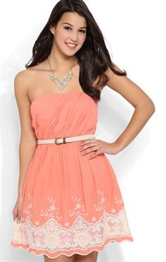 Deb Shops Strapless Day Dress with Ruched Bodice and Crochet Embroidery $45.00