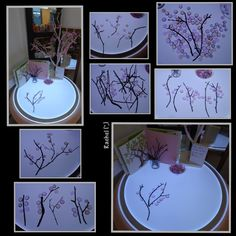 """Cherry Blossom """"Trees"""" on the Light Panel (from Stimulating Learning with Rachel) Chinese Cherry Blossom, Cherry Blossom Art, Blossom Trees, Rhyming Activities, Craft Activities, Stem For Kids, Art For Kids, Chinese New Year Activities, Reggio Inspired Classrooms"""