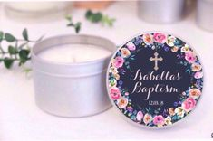 Personalised christening / baptism / communion favours. Soy candle tins. Blue and silver floral design by Mahina. Bomboniere thank you gifts