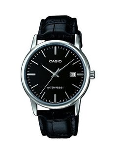 7f0caa3b69f Casio Mens Analog Watch Leather Band Silver Black Date Display