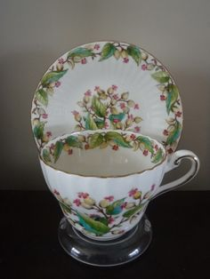 Rare Paragon Bone China Cup And Saucer Rose Bud Pattern # 4560