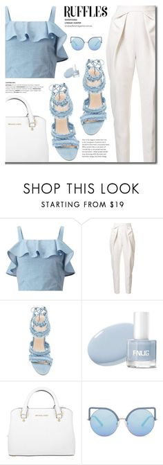 """Blue Ruffled Top"" by fashion-bea-16 ❤ liked on Polyvore featuring Miss Selfridge, Delpozo, Michael Kors, Matthew Williamson, StreetStyle, contestentry, polyvoreeditorial and ruffledtops"