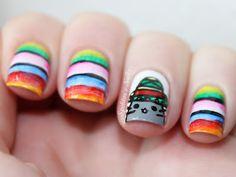 Mexican Pusheen Nails