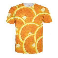 POMARAŃCZE Koszulka T-Shirt Full Print 3D Krótki Rękaw