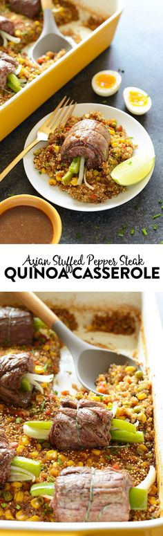 If you want to take your casserole game up a notch, try serving this Asian Stuffed Pepper Steak Quinoa Casserole to the family. It's high-protein and loaded with veggies!