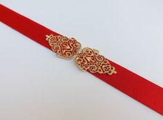 Red elastic waist belt. Gold filigree belt. Dress belt. Stretch belt.