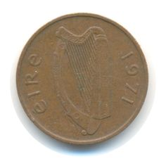 Vintage Coin Irish One Penny 1971 by JMCVintagecards