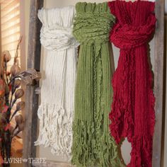 Ruffled scarves in ivory, sage green, cranberry