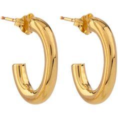 Jennifer Fisher Gold Small Single Chain Link Hoop Earrings ($285) ❤ liked on Polyvore featuring jewelry, earrings, accessories, gold chain earrings, chain hoop earrings, gold hoop earrings, gold earrings and hoop earrings