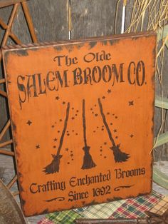 """Primitive Lg Holiday Wooden Hand Painted Halloween Salem WItch Sign -  """" The Olde Salem Broom Co  """"  Country  Rustic Folkart"""