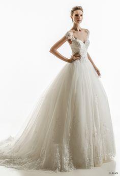 jillian 2018 bridal cap sleeves illusion jewel sweetheart neckline heavily embellished princess ball gown wedding dress sheer lace back chapel train (17) mv -- Jillian 2018 Wedding Dresses