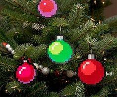 Pixel Art Christmas Baubles Set of 4 by adamcrockett Perler Beads, hama beads, bead sprites Perler Bead Designs, Hama Beads Design, Diy Perler Beads, Hama Beads Patterns, Perler Bead Art, Beading Patterns, Peyote Patterns, Bracelet Patterns, Stitch Patterns