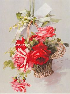 PRINT FREE SHIP Basket of Victorian Roses by VictorianRosePrints, $11.99