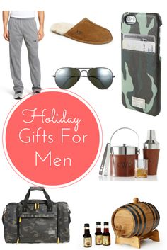 holiday gift ideas for guys.  more than a dozen suggestions for tech guys, gym guys, booze guys, and fashionable men in your life.