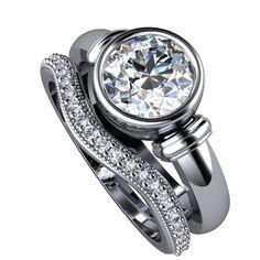 White Gold Bezel Engagement Ring & Diamond Milgrain Eternity Wedding Band.