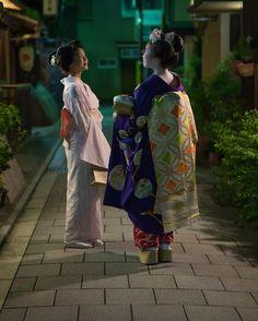 "kamishichiken: "" July 2016: maiko Katsuna with maiko Koeri of Gion Kobu (source). """