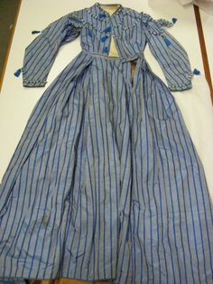 """This reminds me of the blue/grey cotton dress I have currently... may take some inspiration from this to """"de-farb"""" it even more... {SF_Conservation: Lovely 1860's blue silk wedding]"""