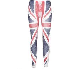 British Flag Legging ($17) ❤ liked on Polyvore