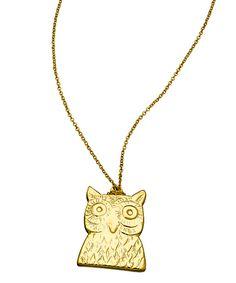 Kendra Phillip Gold Owl Pendant Necklace